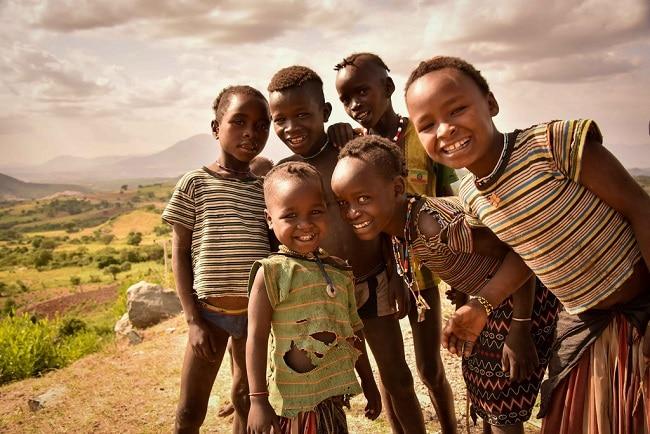 ילדים בשמורה התרבותית קונסו - דרום אתיופיה
