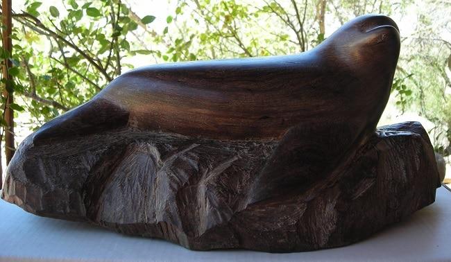 כלב ים מגולף בעץ