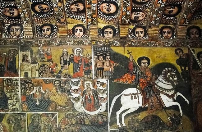 הציורים על קירות ותקרת כנסיית דברה ברהאן סלאסי בגונדר
