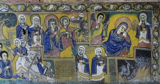 ציורים על קירות כנסיית אורה קידנה